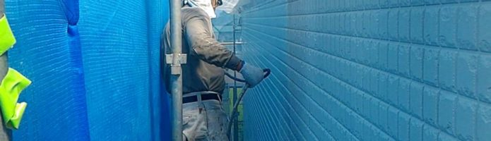 外壁塗装埼玉県川島町上狢より ALC壁上塗り作業