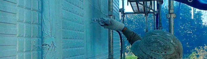 外壁塗装埼玉県川島町上狢より ALC壁上塗りエアレス塗装作業
