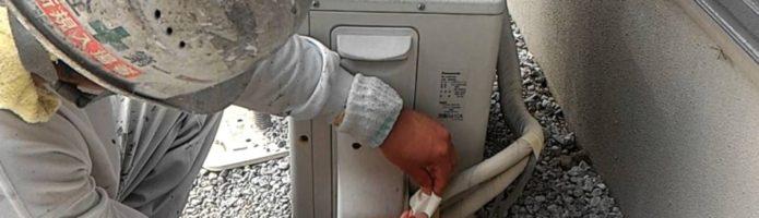 外壁塗装埼玉県川島町上狢より エアコンホーステープ巻き作業