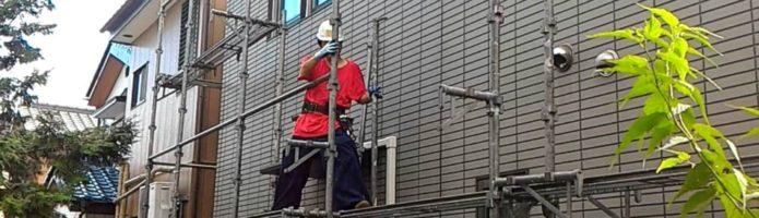 外壁塗装桶川市北より 仮設足場組立作業