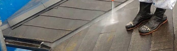 外壁塗装埼玉県新座市新堀より コロニアル屋根の高圧洗浄作業