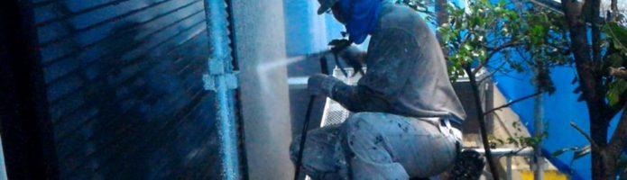 外壁塗装埼玉県新座市新堀より モルタル壁の高圧洗浄作業