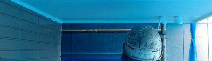 外壁塗装埼玉県桶川市北より 軒天上塗り作業