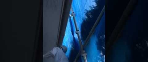 外壁塗装埼玉県白岡市新白岡より 軒天塗装作業