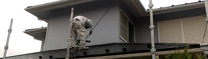 外壁塗装埼玉県白岡市新白岡より コロニアル屋根アステック無機ハイブリットコート塗装