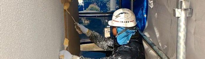 外壁塗装埼玉県所沢市上安松より モルタル壁上塗り1回目作業