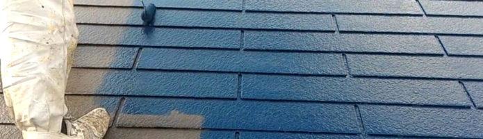外壁塗装埼玉県狭山市北入曽より コロニアル屋根の上塗り作業