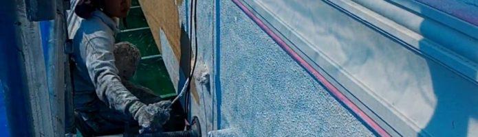 外壁塗装埼玉県白岡市新白岡より モルタル壁の微弾性フィラー塗装