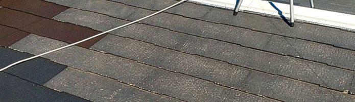 外壁塗装埼玉県朝霞市田島より コロニアル屋根の下塗り作業