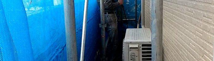 外壁塗装東京都東久留米市小山より サイディング壁の高圧洗浄作業