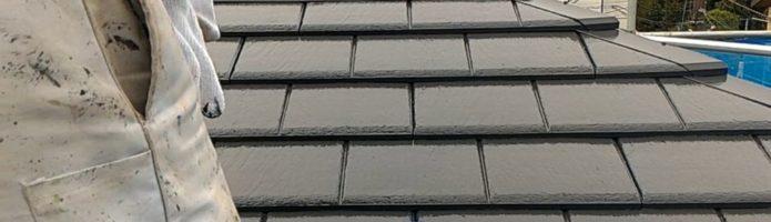 外壁塗装東京都東久留米市小山よりby美光塗装 屋根上塗り塗装作業スーパーシャネツサーモSi