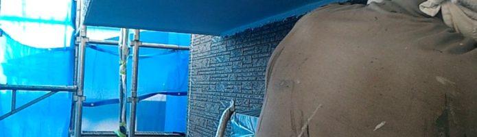 外壁塗装埼玉県ふじみ野市西鶴ヶ岡より 軒天マスキングテープ貼り