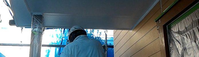 外壁塗装埼玉県川越市中台より 軒天塗装作業
