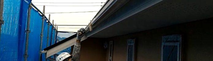 外壁塗装埼玉県白岡市新白岡より 破風板上塗り作業