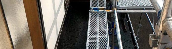 外壁塗装埼玉県富士見市鶴馬より 色替え工法での下屋根上塗り2回目作業