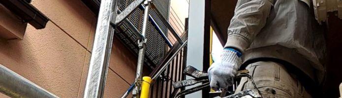 外壁塗装埼玉県富士見市鶴馬より 鉄骨の上塗り作業