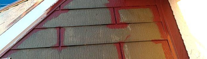 外壁塗装埼玉県ふじみ野市西鶴ヶ丘より コロニアル屋根の上塗り1回目作業