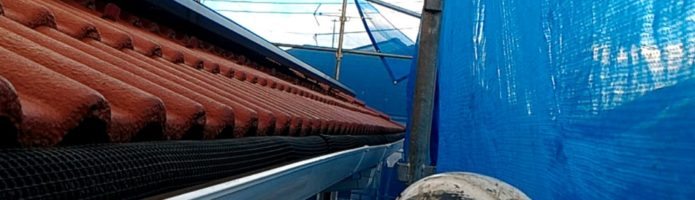 外壁塗装埼玉県川越市中台より 軒樋上塗り作業