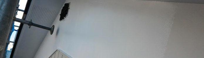 軒天、漆喰壁の上塗り作業「埼玉県朝霞市田島現場より」