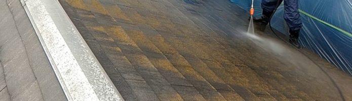 外壁塗装埼玉県川越市吉田新町より コロニアル屋根の高圧洗浄作業