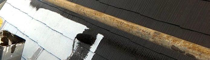 急勾配屋根の上塗り作業 外壁塗装埼玉県富士見市山室より