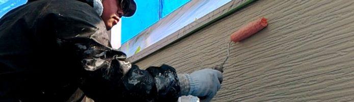 窯業系サイディング壁の下塗り 埼玉県富士見市山室現場より