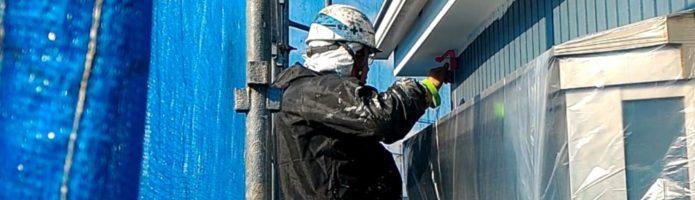 軒天マスキングテープ貼り作業 外壁塗装埼玉富士見市山室現場より