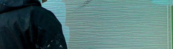 窯業系サイディングの上塗り作業 外壁塗装埼玉富士見市山室現場より