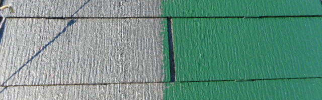 コロニアル屋根の上塗り作業を行いました 「埼玉県富士見市山室現場より」