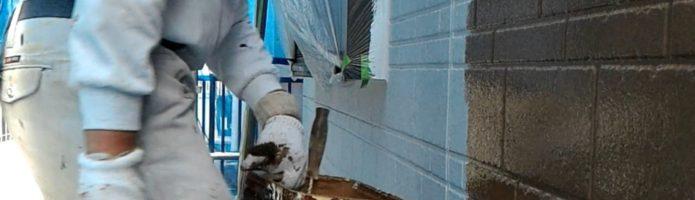 ファインシリコンフレッシュ上塗り1回目 外壁塗装埼玉県ふじみ野市鶴ヶ丘現場より