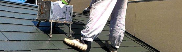 コロニアル屋根の上塗りにキクスイSPパワーサーモF塗装しました 外壁塗装埼玉県ふじみ野市鶴ヶ丘現場より