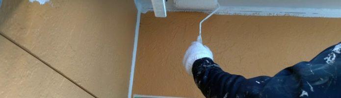 軒天をビルデックNEOで塗装しました|外壁塗装埼玉県ふじみ野市清見より塗替えリフォーム施工中
