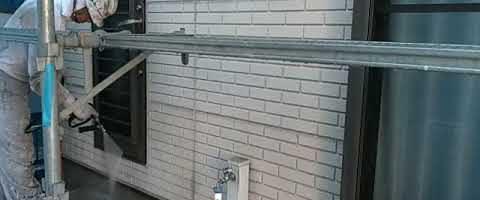 ALC壁の高圧洗浄作業|外壁塗装埼玉県川越市並木西町で塗替えリフォーム施工中