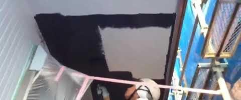こげ茶色で軒天を塗装しました|外壁塗装埼玉県富士見市鶴馬現場で塗替えリフォーム施工中