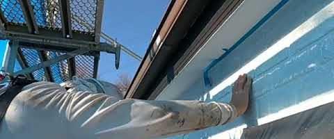 軒天マスキング作業|外壁塗装埼玉県川越市南大塚現場で塗替えリフォーム施工中