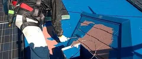ダイヤスーパーセランマイルドIRで屋根を塗装しました|外壁塗装埼玉県川越市南田島現場で塗替えリフォーム施工中
